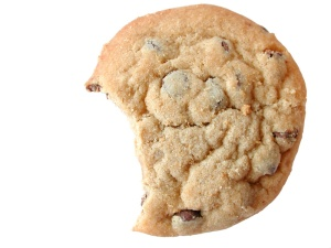 chocolate chip cookie with a bite out